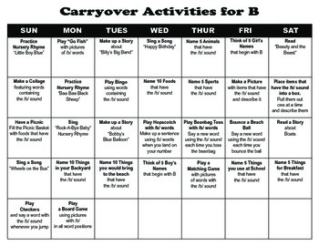 Carryover Calendar for B