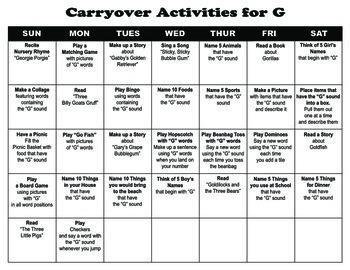 Carryover Calendar for Letter G