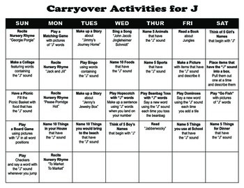 Carryover Calendar for Letter J
