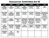 Carryover Calendar for Letter K