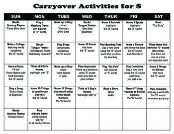 Carryover Calendar for Letter S