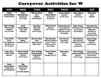 Carryover Calendar for Letter W