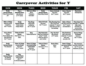 Carryover Calendar for Letter Y