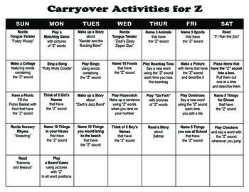 Carryover Calendar for Letter Z