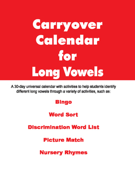 Carryover Calendar for Long Vowels