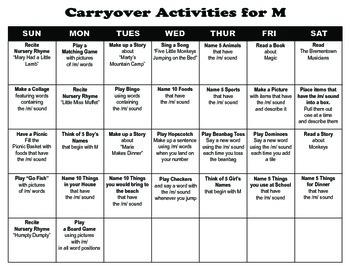 Carryover Calendar for M