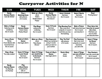 Carryover Calendar for N