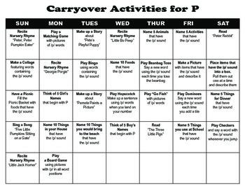 Carryover Calendar for P