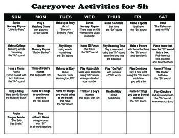 Carryover Calendar for Sh