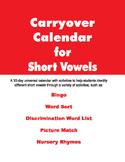 Carryover Calendar for Short Vowels