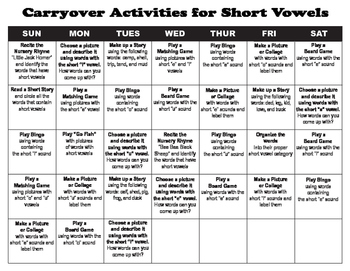Carryover Calendar for Short Vowels