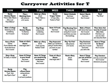 Carryover Calendar for T