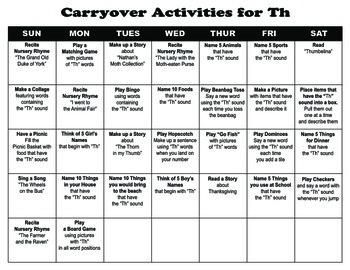 Carryover Calendar for Th