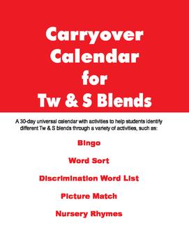 Carryover Calendar for Tw & S Bends