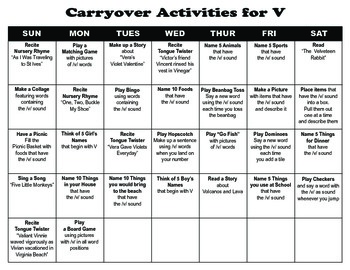 Carryover Calendar for V