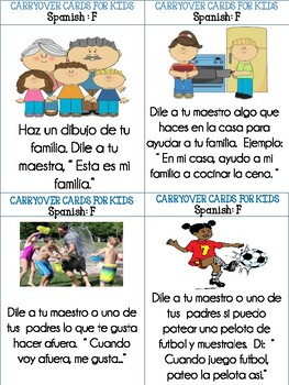Carryover Cards for Kids: /f/ Spanish