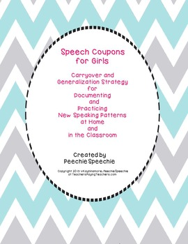 Carryover for Articulation Speech Coupons for Girls