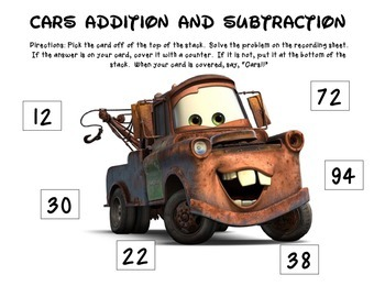 Cars Addition and Subtraction