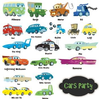 Cars Clip Art Cars Party Disney Cartoon Clipart - Colored