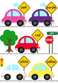 Cars Color Word Matching File Folder Game