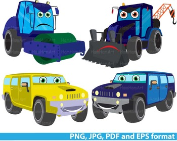 Cars Construction Machines Clip Art dump cute Excavator WORK SIGNS school -0126-