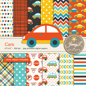Cars Digital papers and clipart SET