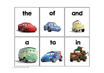 Cars Themed First Hundred Fry Words Card Game and Board Game