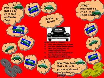 Cars Game Board for Oral Sensory Diet Assessment Students w/Autism Special Needs