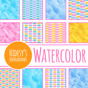 Cars Handpainted Watercolor Digital Paper / Backgrounds Clip Art Set