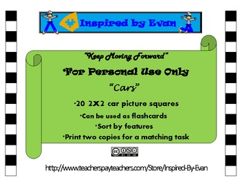 """""""Cars"""" Picture Matching/Flashcards/Memory Game for Autism"""