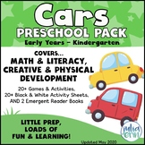 Cars Preschool Pack  (Transportation/car theme    Colored/Coloured Cars)