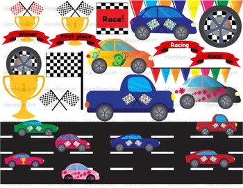 Cars Race Set Clipart School kid birthday party Bener WHEE