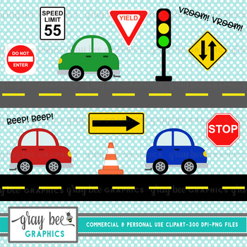 Cars, Road Signs, Cute Cars and Road Signs, Clip Art Pack