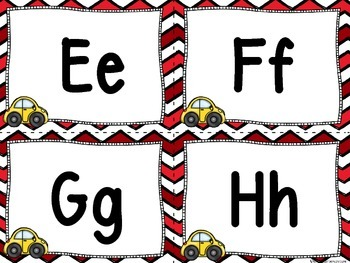 Cars Word Wall and 200 Fry Words (Red Chevron)