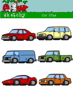 Cars / Vehicles / Trucks Clipart Graphics -300dpi Color Gray Black Lined & White