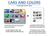 Cars and Colors - ELL ESL Color Flash Cards and Worksheet