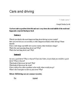 Cars and Driving ESL conversation class
