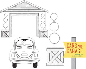Cars and Garage Clip Art Set