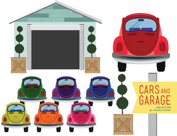 Cars and Garage Clip Art Set