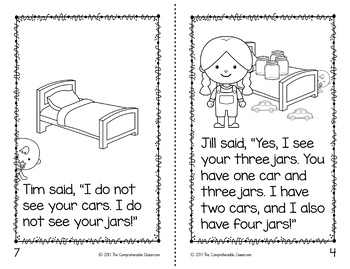 Cars and Jars kindergarten sight word storybook