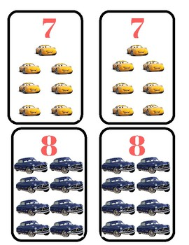 Cars cards and counter memory game