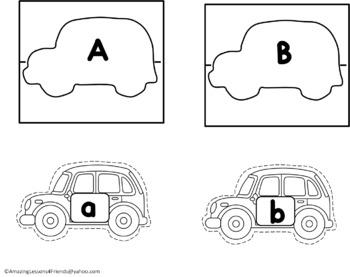 Cars on Roads Alphabet Matching