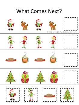Christmas themed What Comes Next preschool and daycare math educational game.