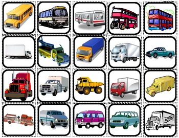 """Cars,Boats,Planes & Trucks"" Picture Matching/Flashcards/Memory Game for Autism"