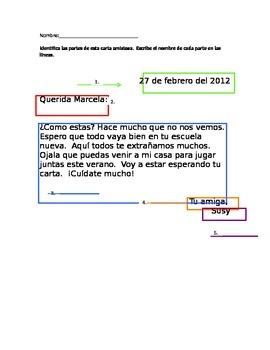 Carta amistosa / Friendly letter worksheet