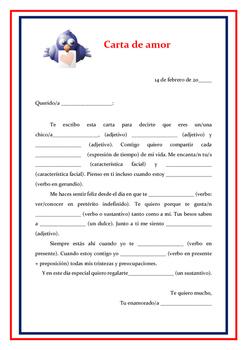 Carta de amor / San Valentin/ Valentine's Day Love Letter Spanish Mad Libs