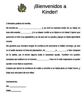 Carta de bienvenida para los padres / Welcome letter to parents