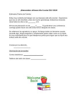 Carta para padres para el primer dia de clases