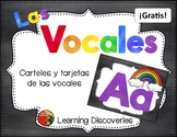 Tarjetas Azules de las Vocales GRATIS! - Blue Spanish Vowel Cards FREEBIE!