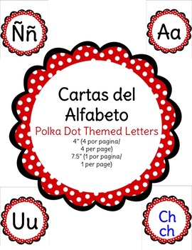 Cartas Del Alfabeto - Polka Dot Themed Spanish Alphabet